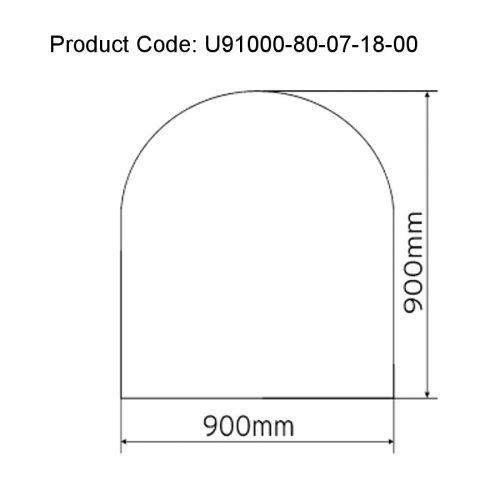 Semi-Circle 12mm Clear Glass Floor Plate