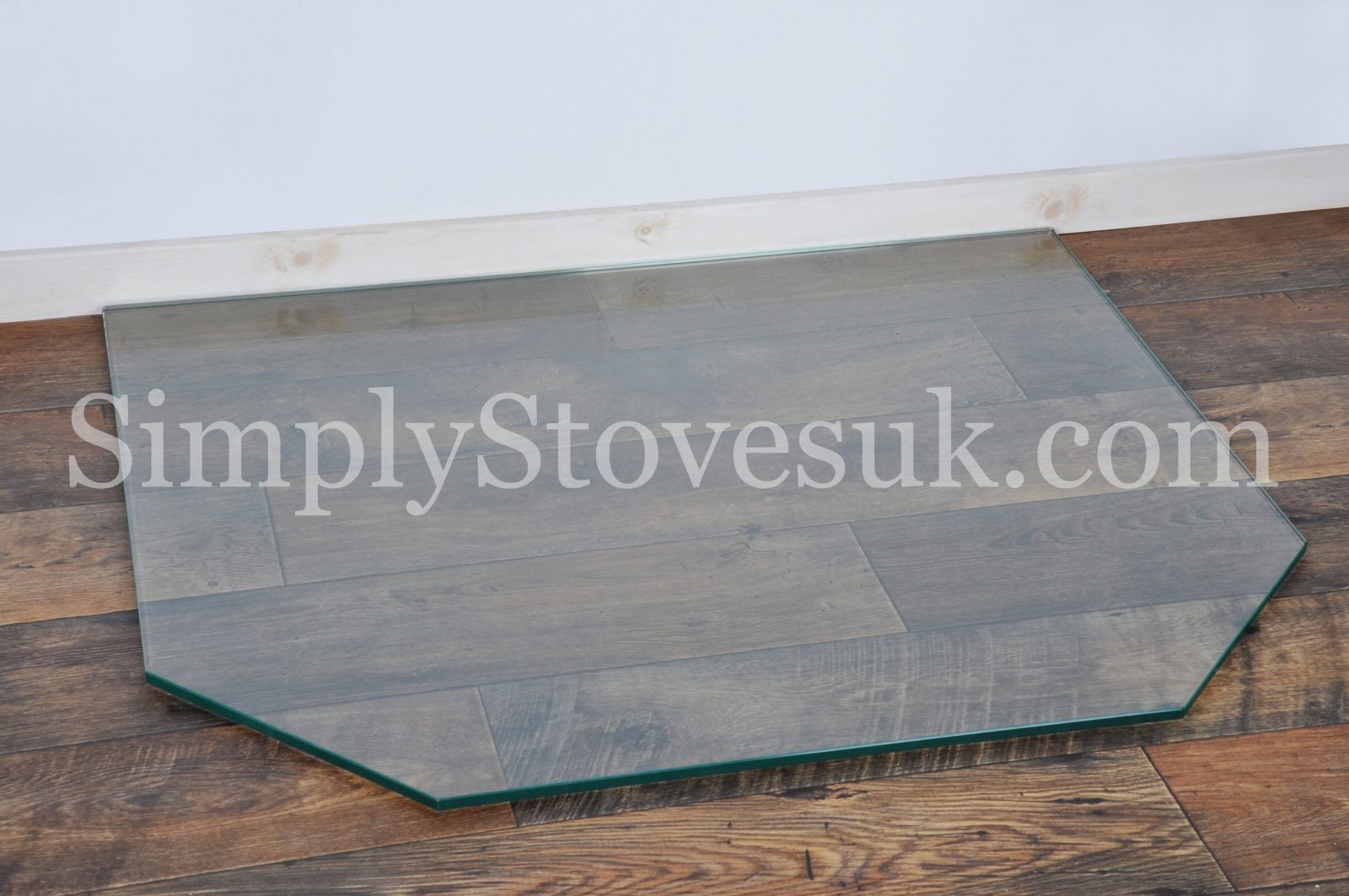 Double Clipped Corner Rectangle Glass Hearth Floor Plate