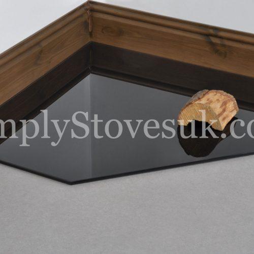 Black Clipped Corner Square Glass Hearth / Floor Plate