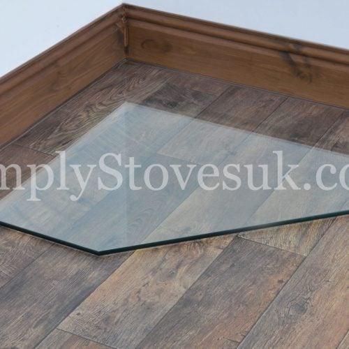 Clipped Corner Square Glass Hearth / Floor Plate