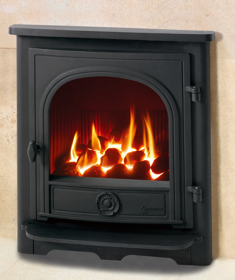 Yeoman Dartmouth Inset Natural Gas Stove Conventional Flue Flat Top With Remote Control And Log Effect