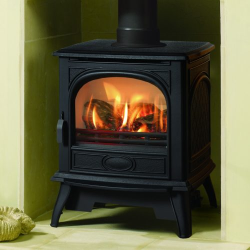 Dovre 280 LPG Gas Conventional Flue Stove with Log Fuel Effect in Matt Black