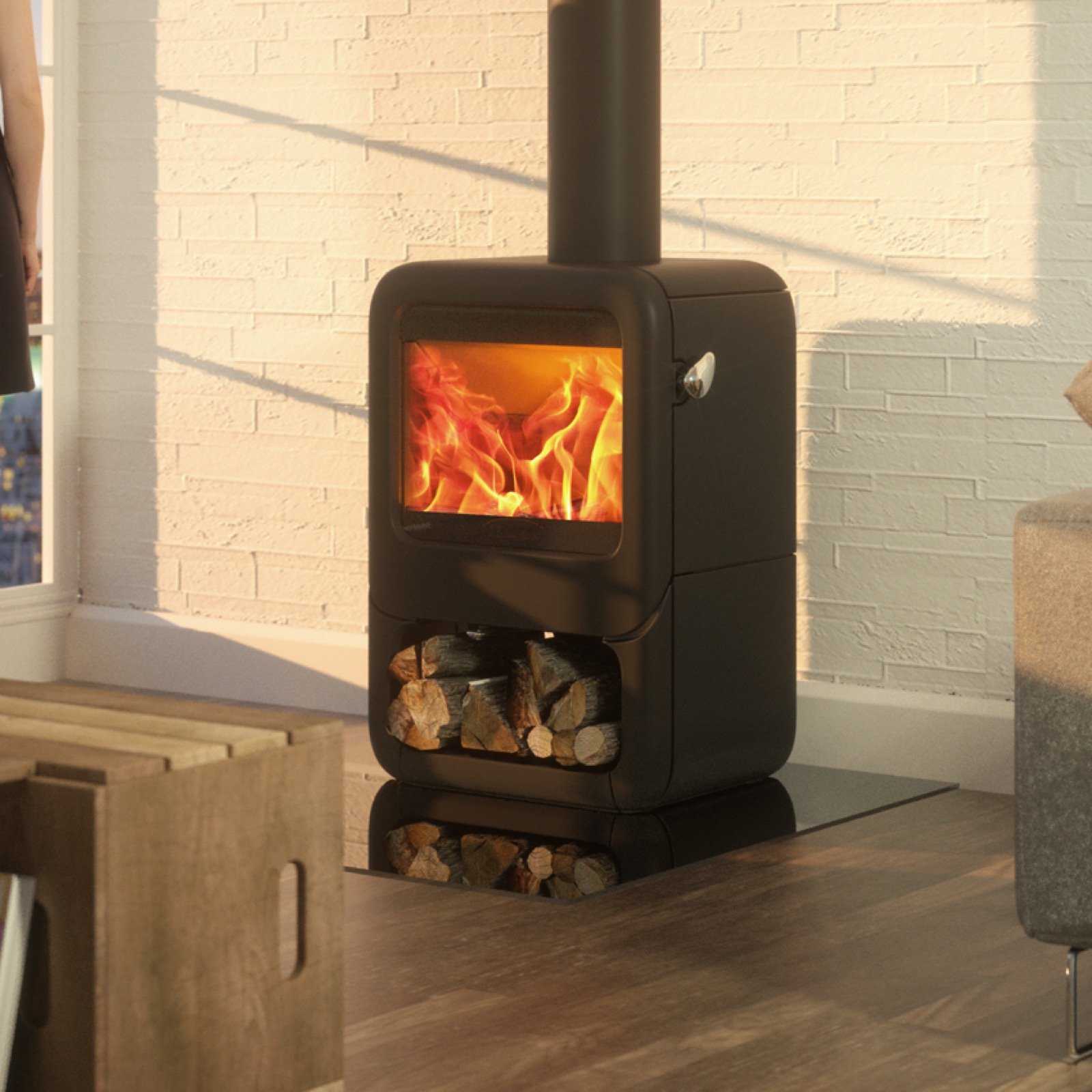 Dovre Rock 350 Wood Burning Stove On Wood Store Simply
