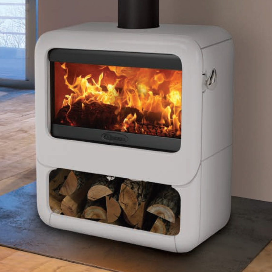 Dovre Rock 500 Wood Burning Stove On Wood Store In Pure