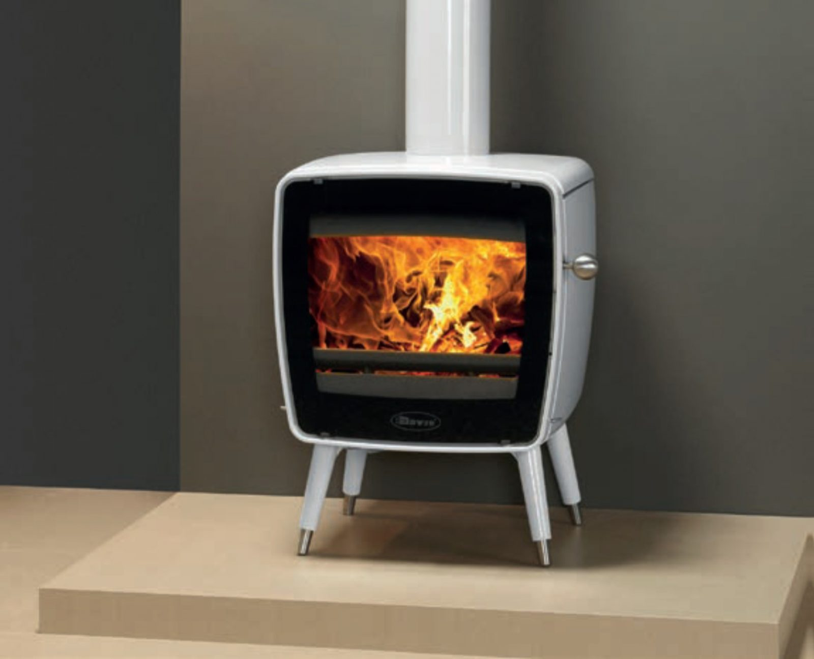 Wood Burning Stove With Legs In Pure White Enamel Click