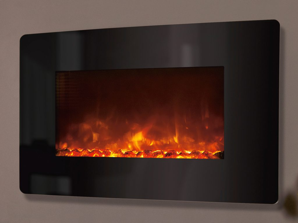 Celsi Electriflame Xd Wall Mounted Curved Black Glass