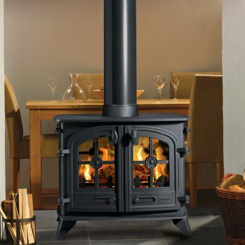 Yeoman Exe - Double Sided, Double Depth , Flat Top, Single Door Wood burning Stove