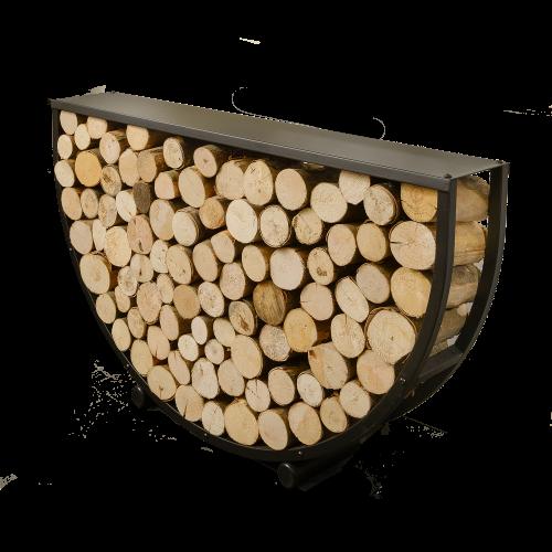 Harrod Semi Circular Steel Log Store with Shelf