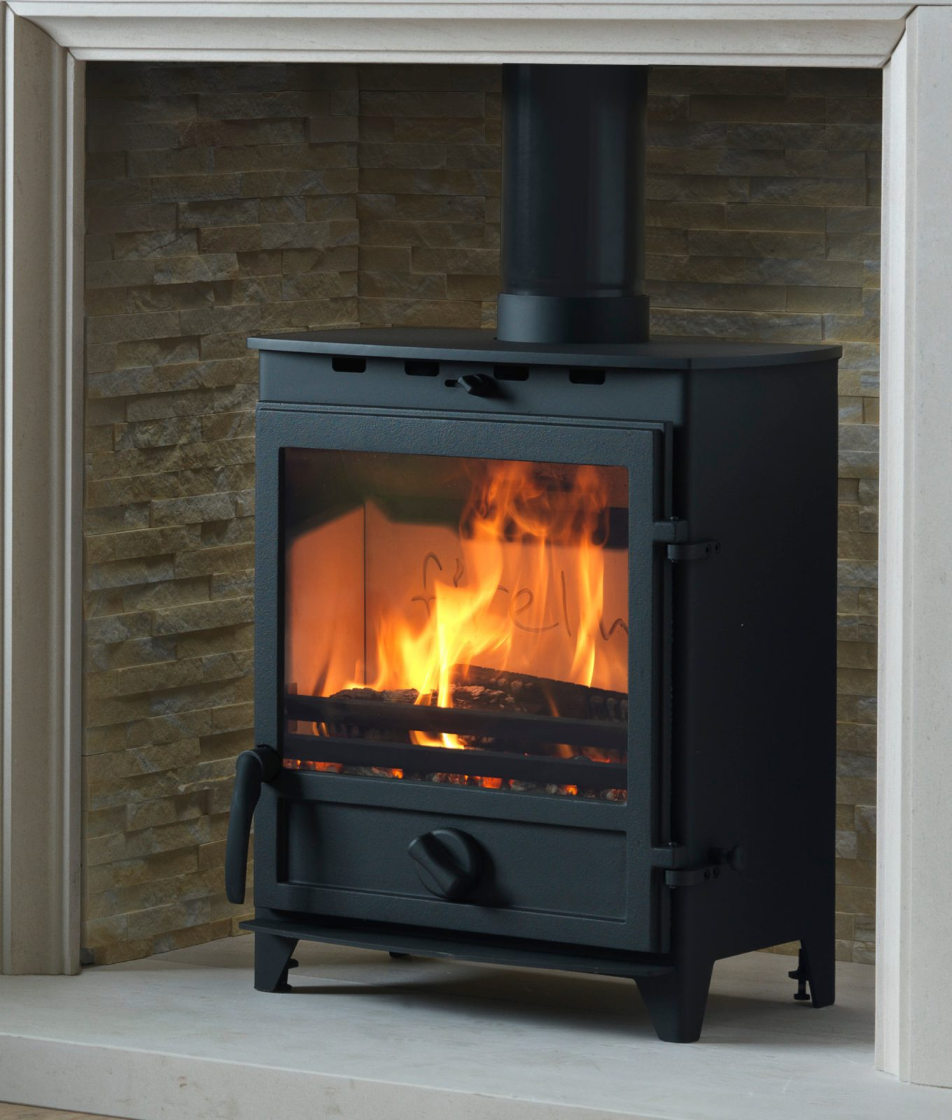 fireline 5kw extra wide multifuel stove with square door - simply stoves