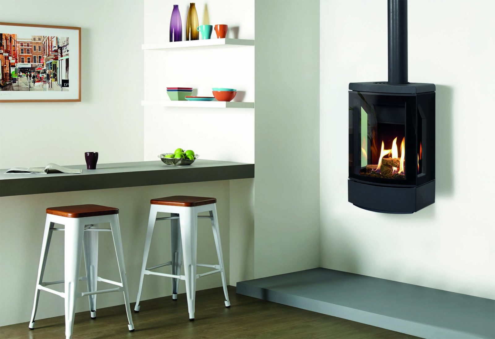 Gazco Loft Log Effect Conventional Flue Natural Gas Stove