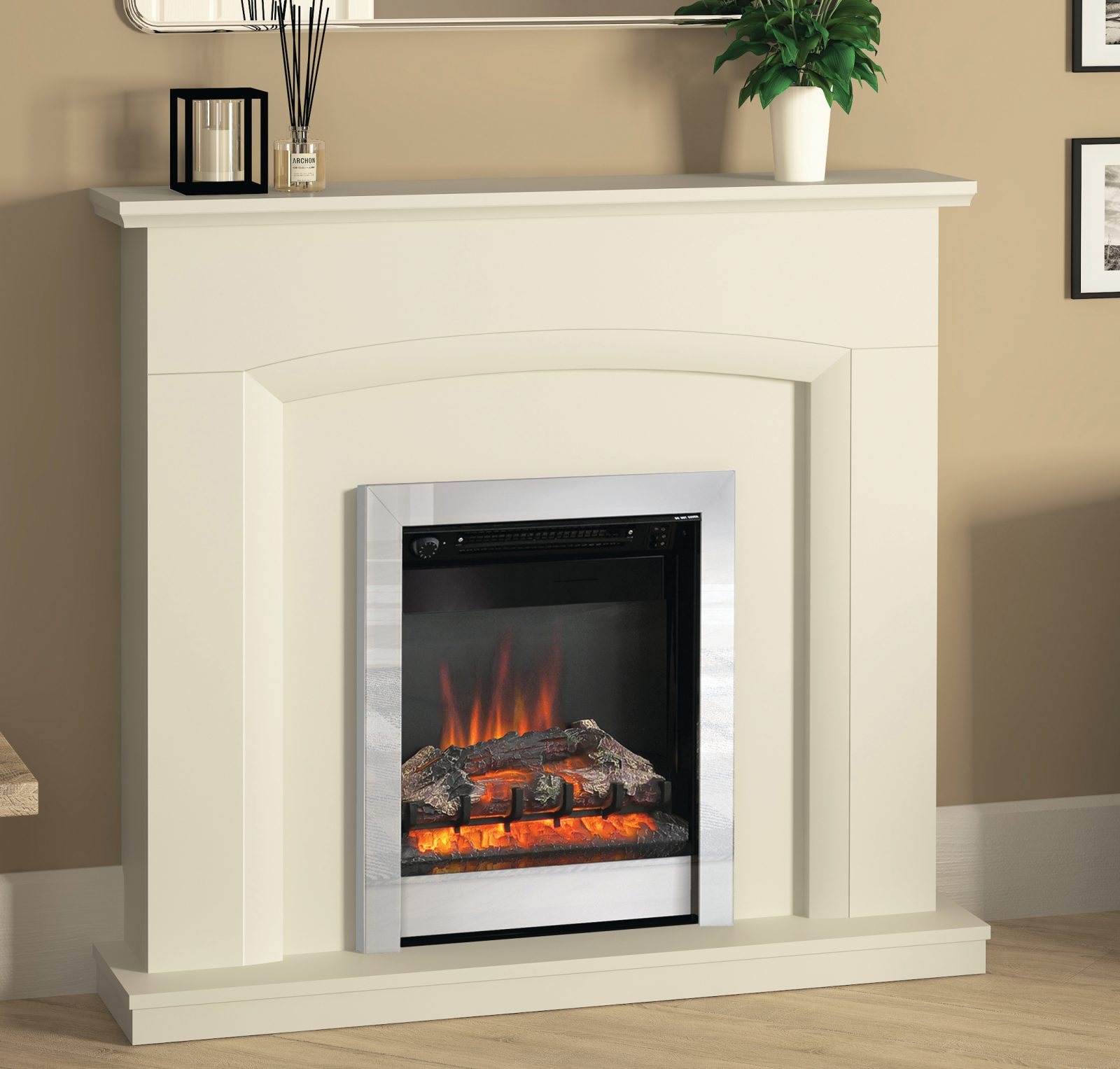 """46"""" Hayden fireplace in Soft White finish chrome Finish Electric Fire - Simply Stoves"""