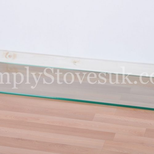 Inset Stove Glass Hearth / Floor Plate With Square Front Edges