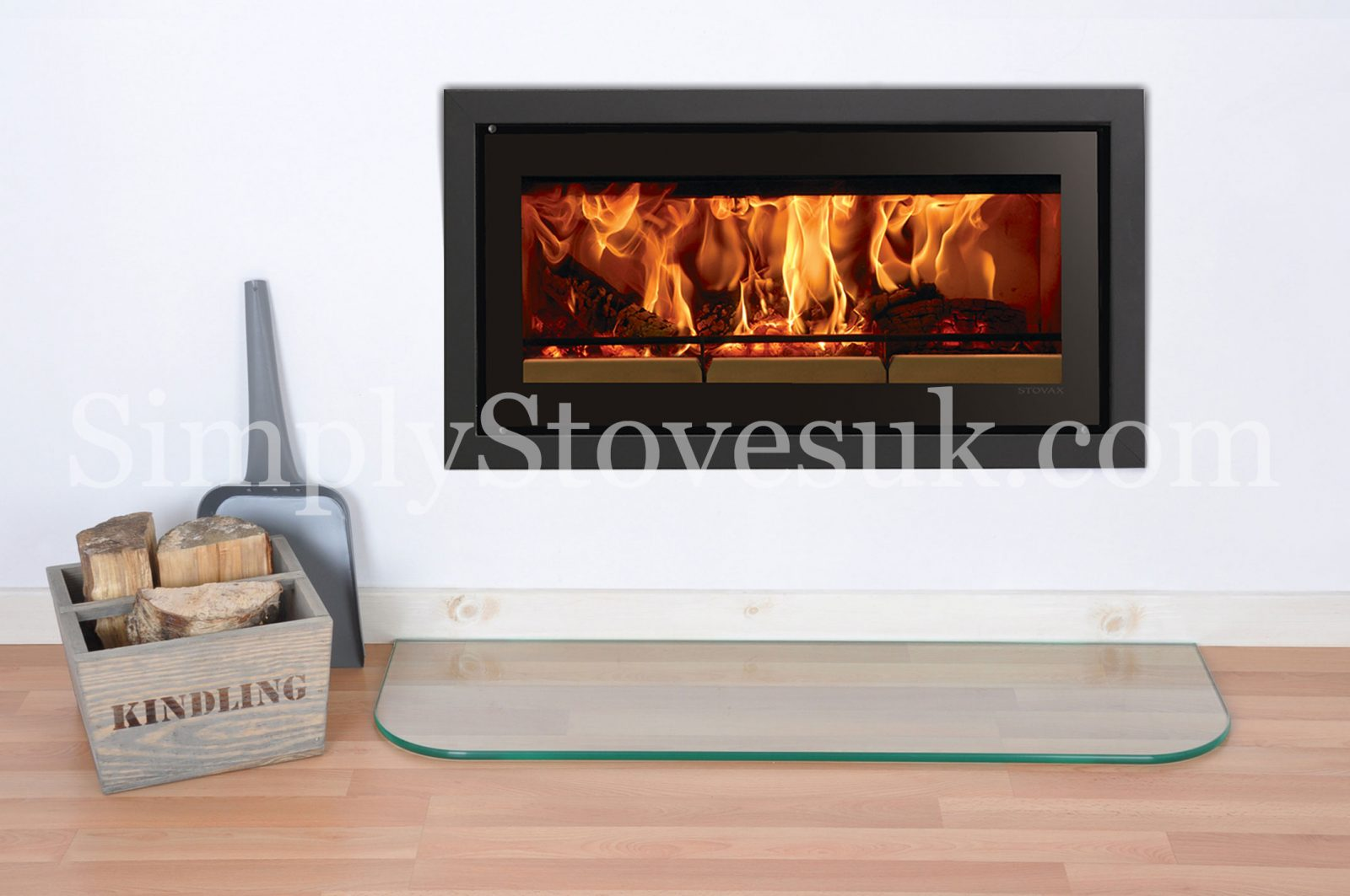 Inset Stove Glass Hearth Floor Plate With Curved Front Edges