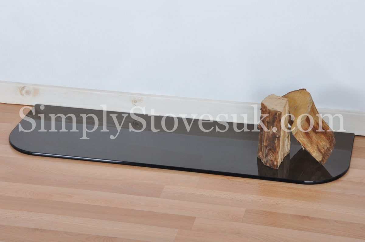 Smoked Inset Stove Glass Hearth / Floor Plate With Curved Front Edges