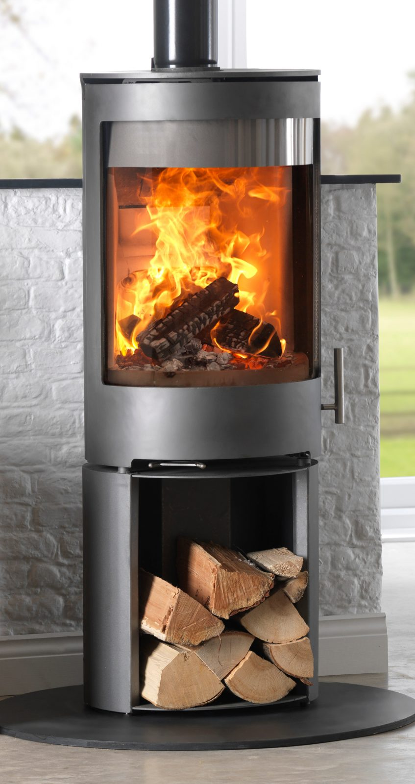 Purevision Pvr Cylinder Multifuel Stove On High Log Store