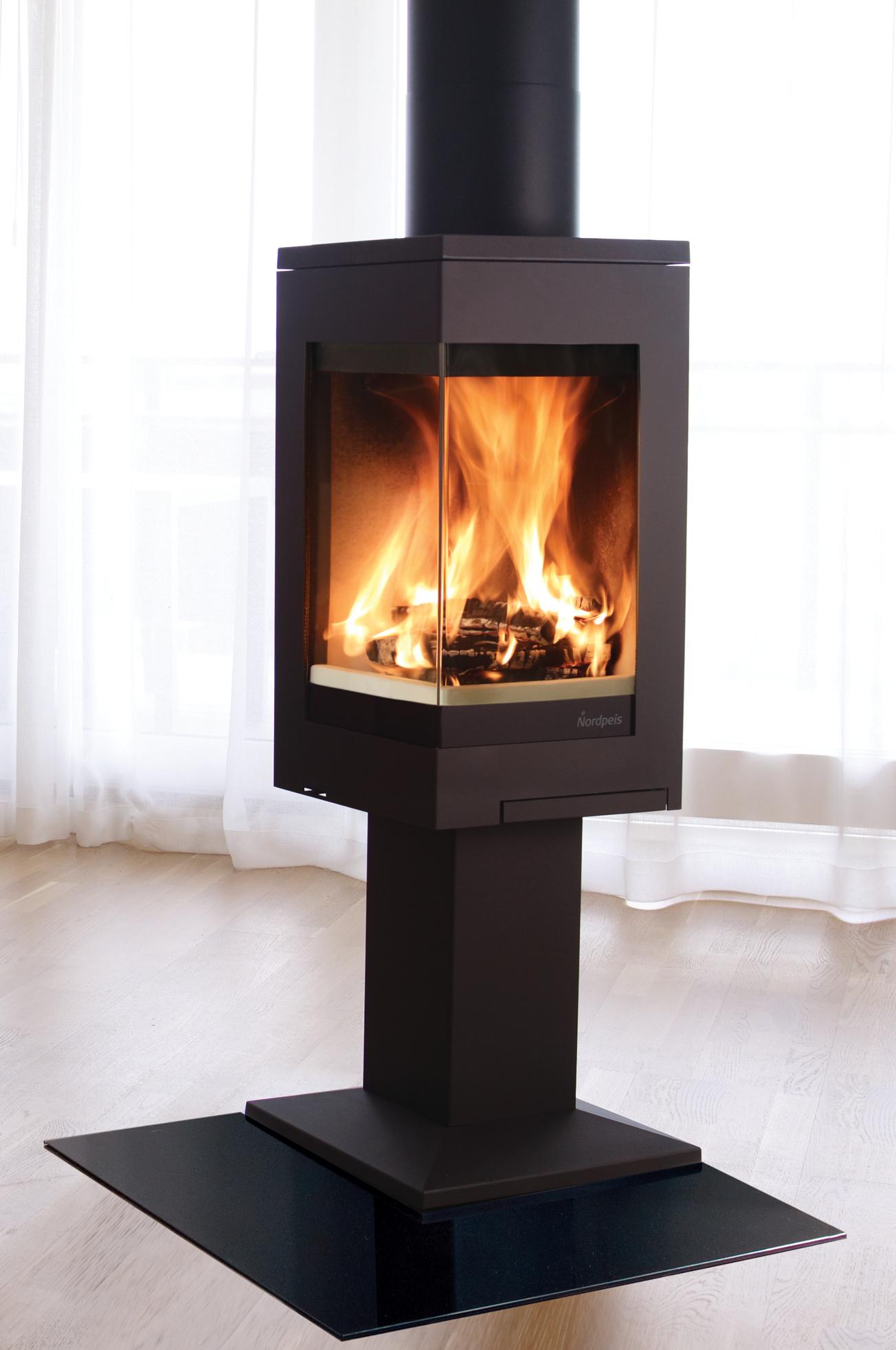 Nordpeis Quadro 1 Wood Burning Stove With Pedestal Base