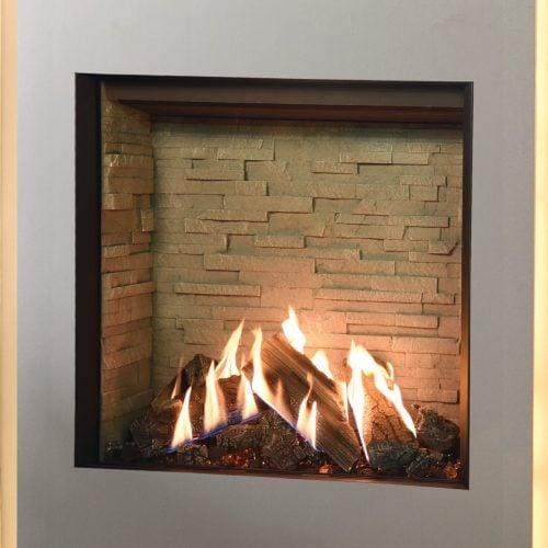Gazco Reflex 75T, Balanced Flue, Natural Gas, Ledgestone Effect Lining, Gas Fire