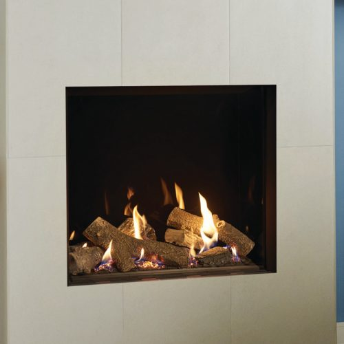 Gazco Riva2 750HL, Balanced Flue, Natural Gas, Black Reeded Lining, Gas Fire