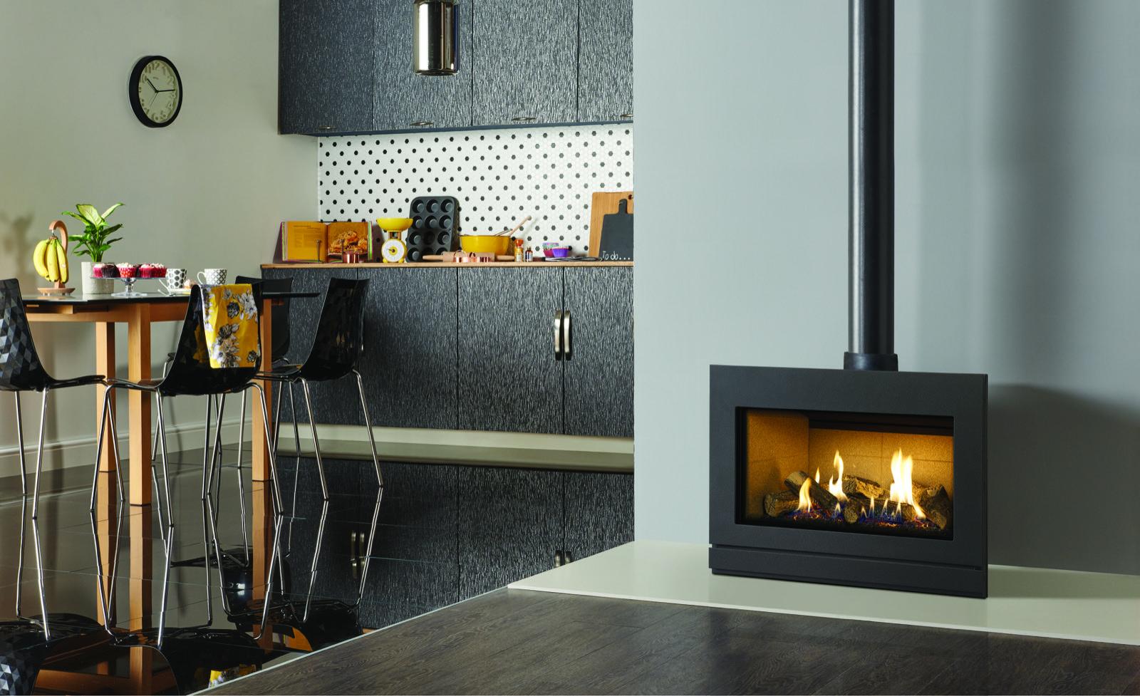 Gazco Riva2 F670 Steel, Balanced Flue, Natural Gas Stove with Black ...