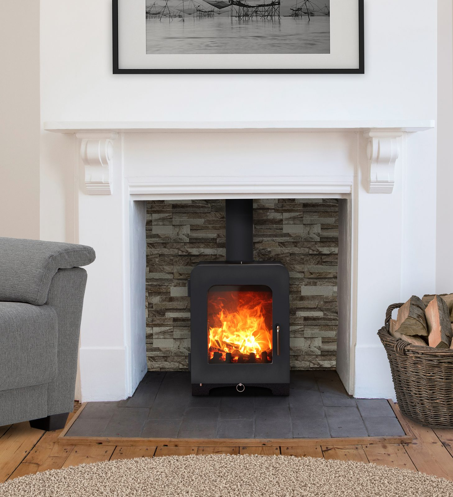 Saltfire St2 Multi Fuel Stove In Metallic Black Simply