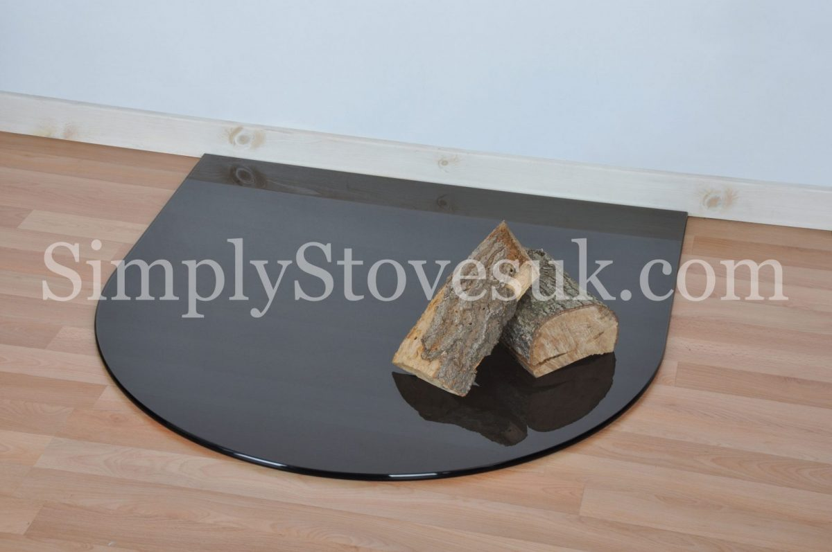 Smoked Small Semi Circle Glass Hearth Floor Plate Simply