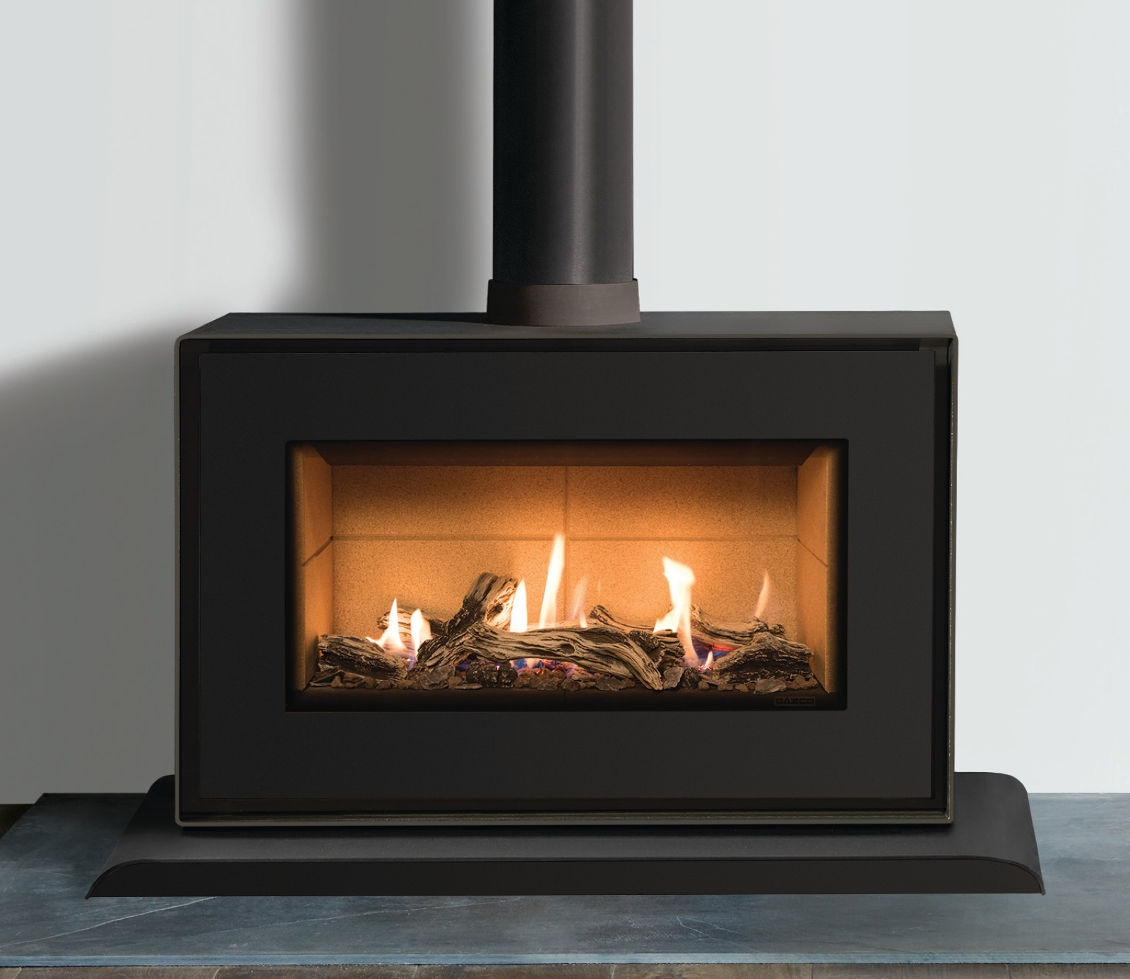 flue gas vertical glo heat product black balanced natural vrtikl corner freestanding fireplace