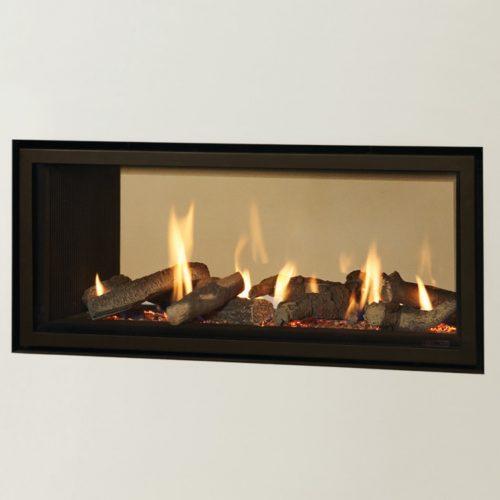 Gazco Studio 2 Duplex Double Sided Gas Fire, Balanced Flue, LPG, Log Effect and Black Reeded Lining