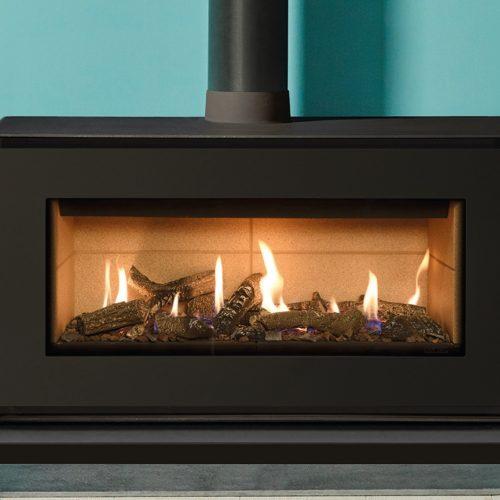 Gazco Studio 2 Freestanding, Conventional Flue, Natural Gas, Log Effect, Black Glass Lining, Gas Fire in Black
