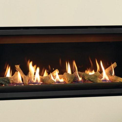 Gazco Studio 2 Slimline Glass Fronted Gas Fire, Balanced Flue, LPG, White Stones and Brick Effect Lining