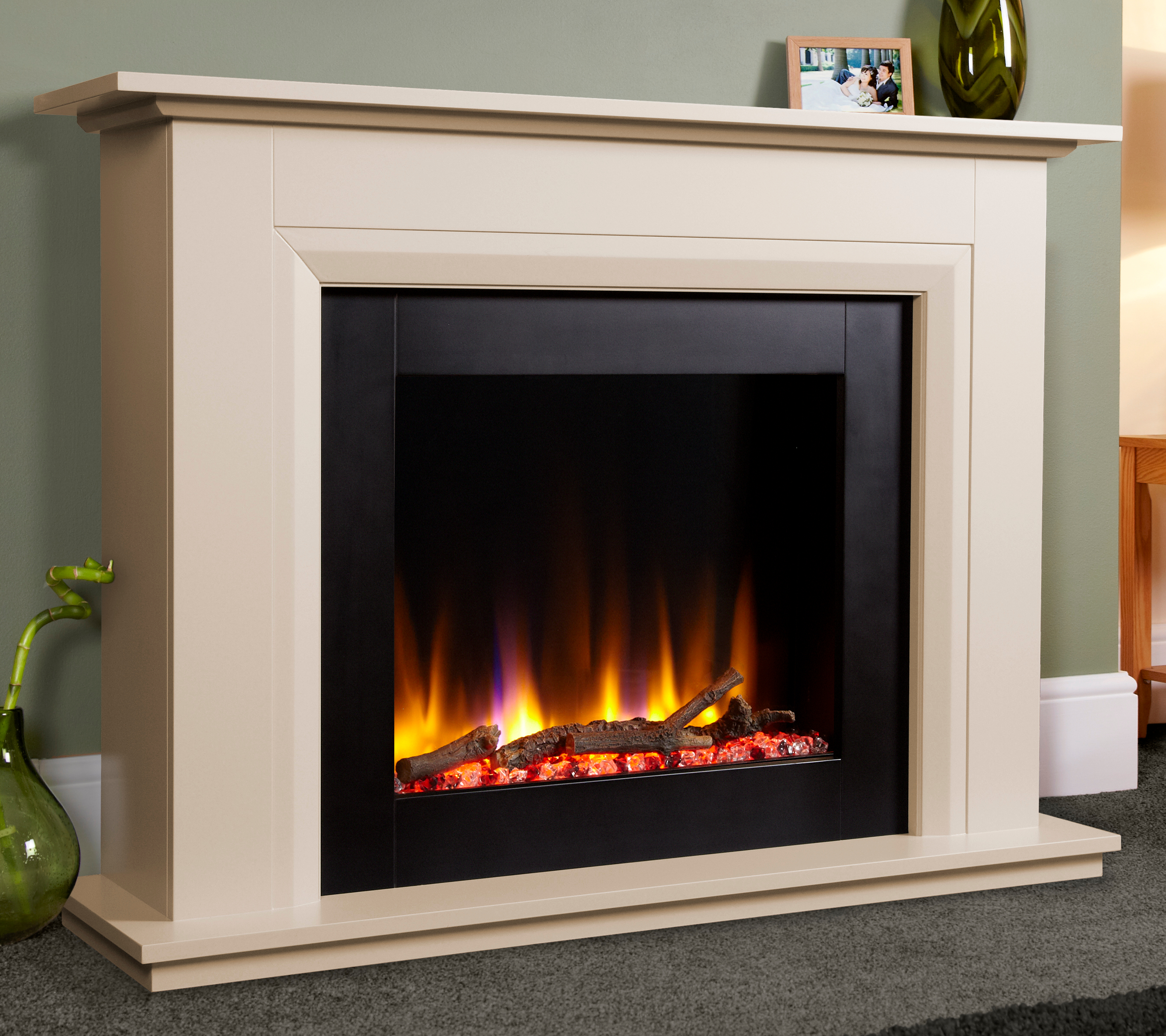 Celsi Ultiflame Vr 22 Elara Electric Fireplace Suite In Smooth Cream Simply Stoves