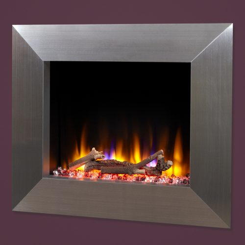 """Celsi Ultiflame VR Impulse 22"""" Wall Inset Electric Fire in Silver"""