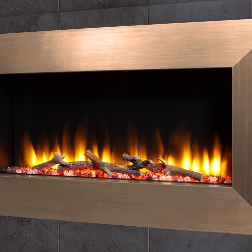 """Celsi Ultiflame VR Instinct 33"""" Wall Inset Electric Fire in Champagne"""