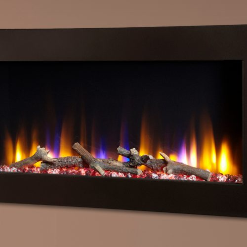 """Celsi Ultiflame VR Metz 33"""" Wall Inset Electric Fire in Black"""