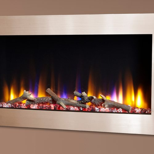"""Celsi Ultiflame VR Metz 33"""" Wall Inset Electric Fire in Champagne"""