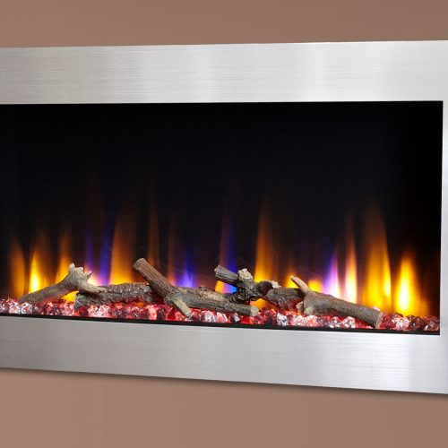 """Celsi Ultiflame VR Metz 33"""" Wall Inset Electric Fire in Silver"""