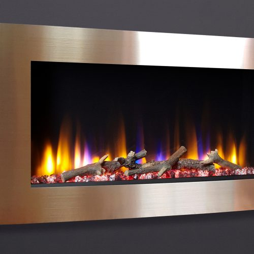 """Celsi Ultiflame VR Vichy 33"""" Wall Inset Electric Fire in Champagne"""