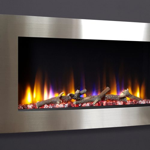 """Celsi Ultiflame VR Vichy 33"""" Wall Inset Electric Fire in Silver"""