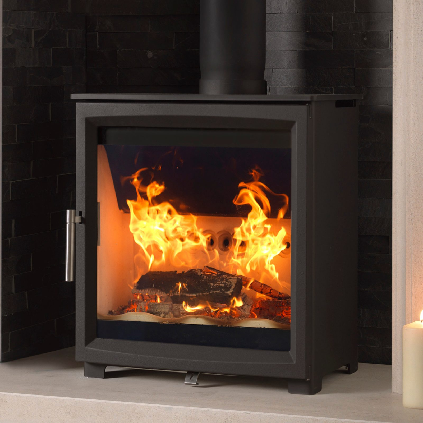 fireline woodtec 5kw wide woodburning stove - simply stoves