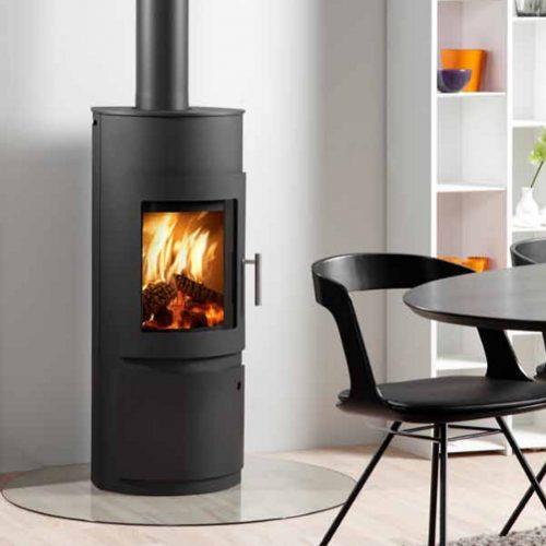 Westfire Uniq 15 Wood Burning Stove with Log Door in Black