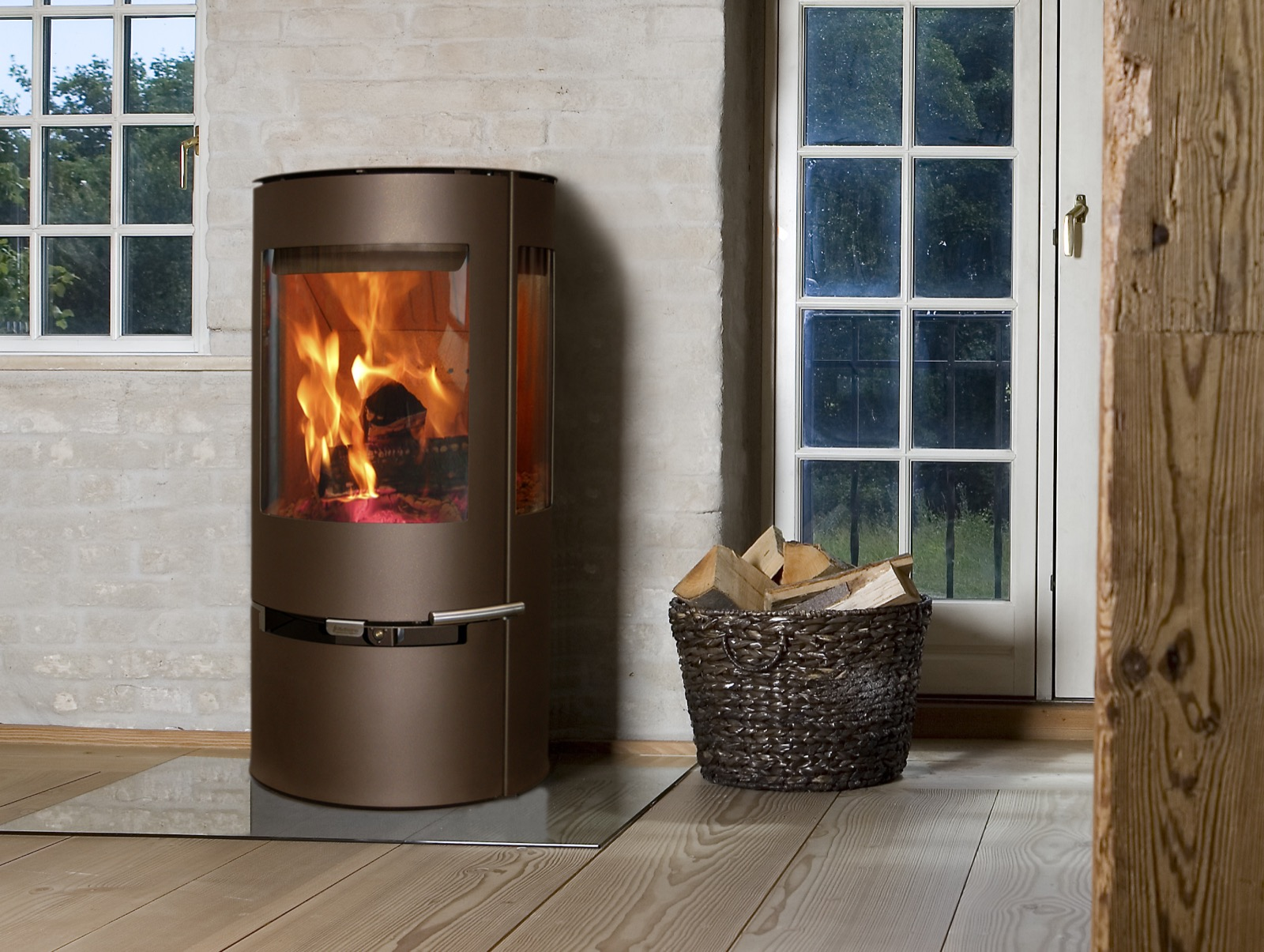 Aduro 9 defra approved wood burning stove in metallic for Stufe pirolitiche