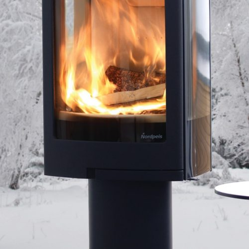Nordpeis Duo 1 Glass Sided Wood Burning Stove with Pedestal Base