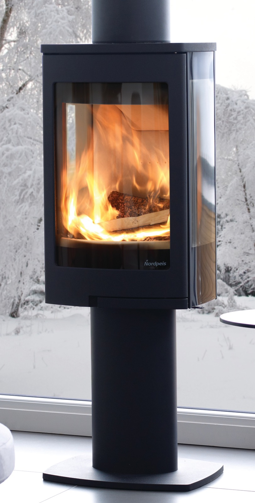Nordpeis Duo 1 Glass Sided Wood Burning Stove With