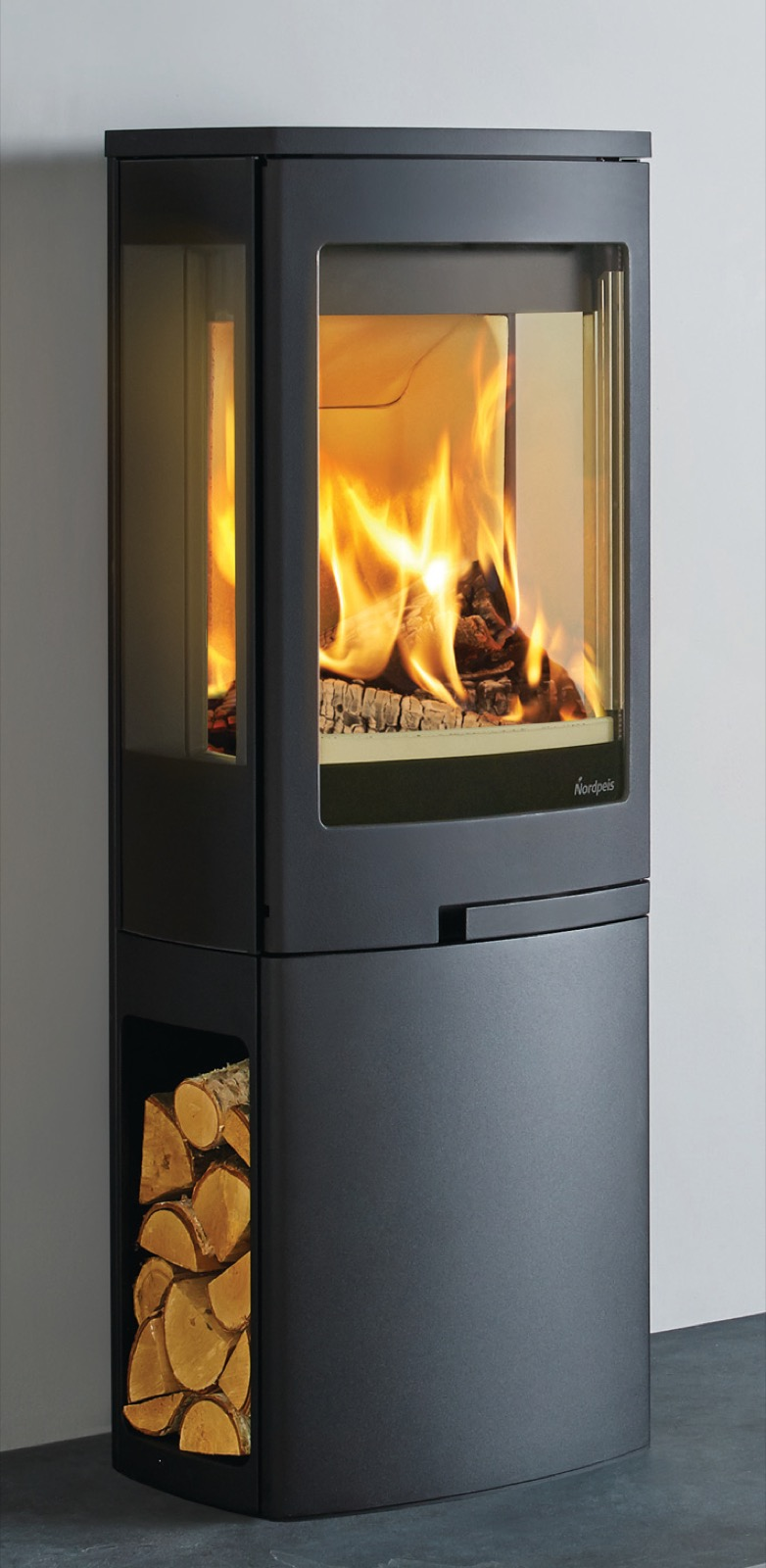 Nordpeis Duo 2 Glass Sided Wood Burning Stove With Log