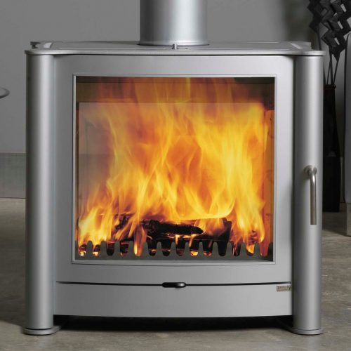 Firebelly FB2 Double Sided Wood Burning Stove with Double Doors and Brushed Stainless Steel Legs