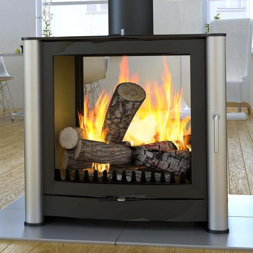 Firebelly FB3 Double Sided Wood Burning Stove with Double Doors and Brushed Stainless Steel Legs