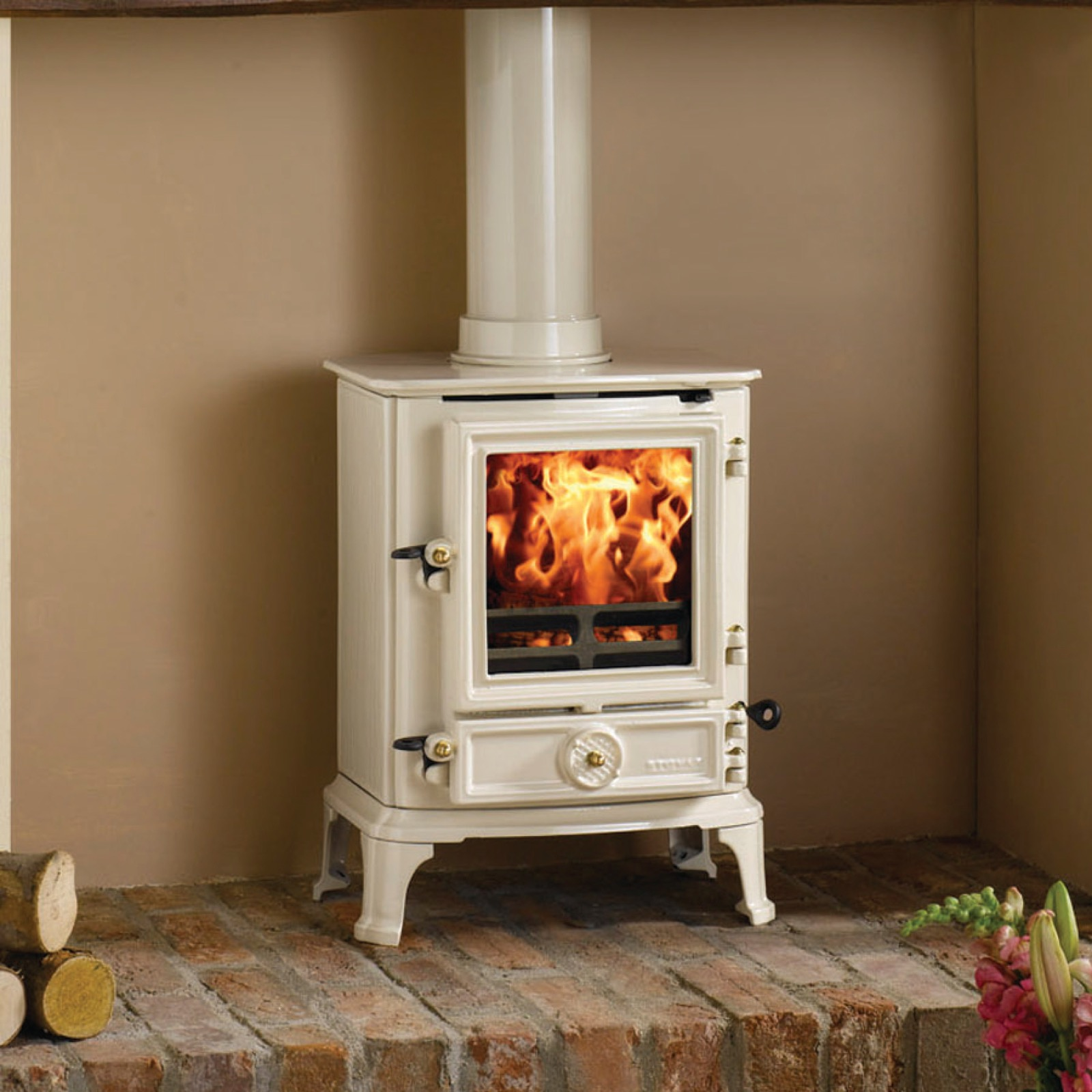 Stovax Brunel 1a Ivory Enamelled Multifuel Stove