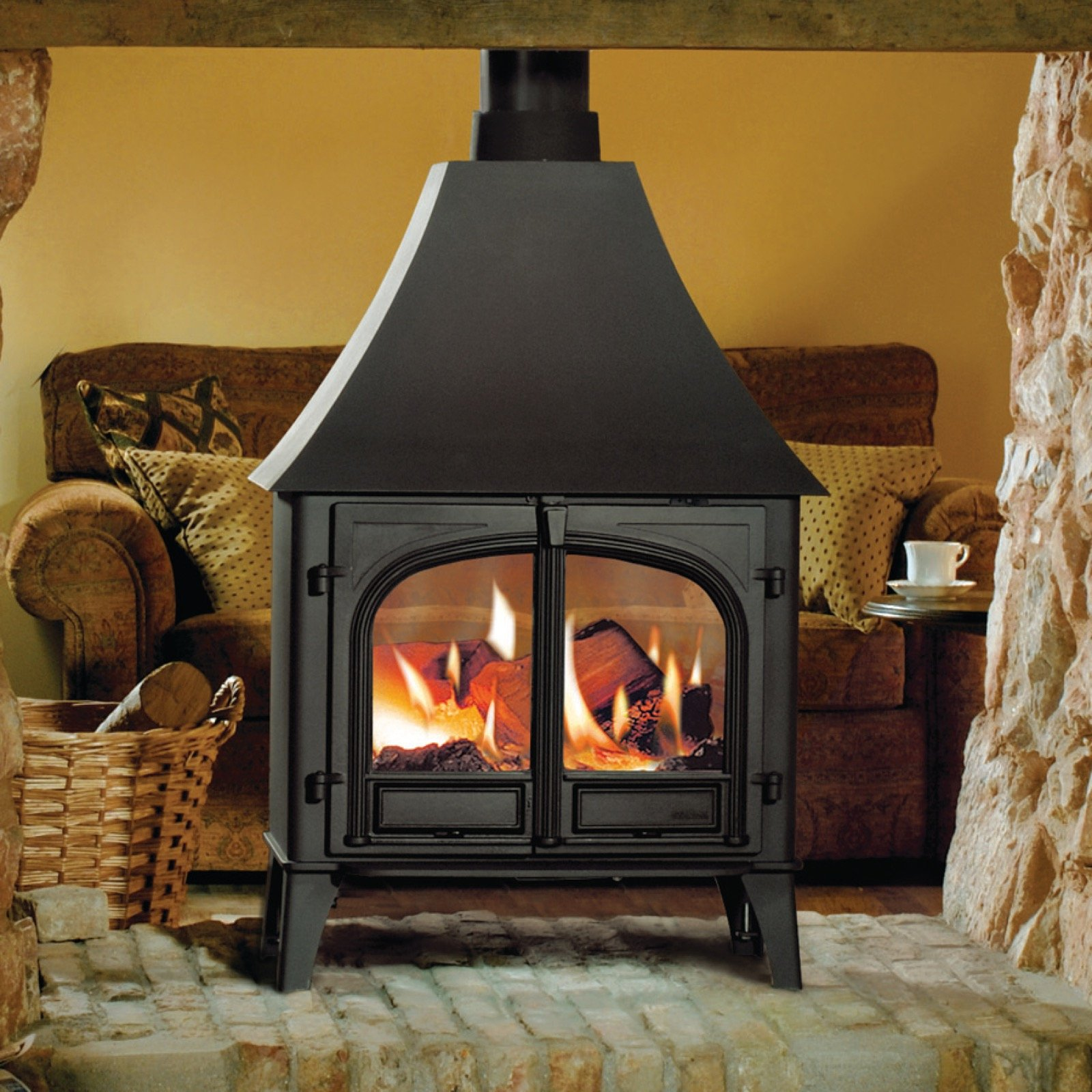Stovax Stockton 11 Double Sided Wood Burning Stove With High Canopy
