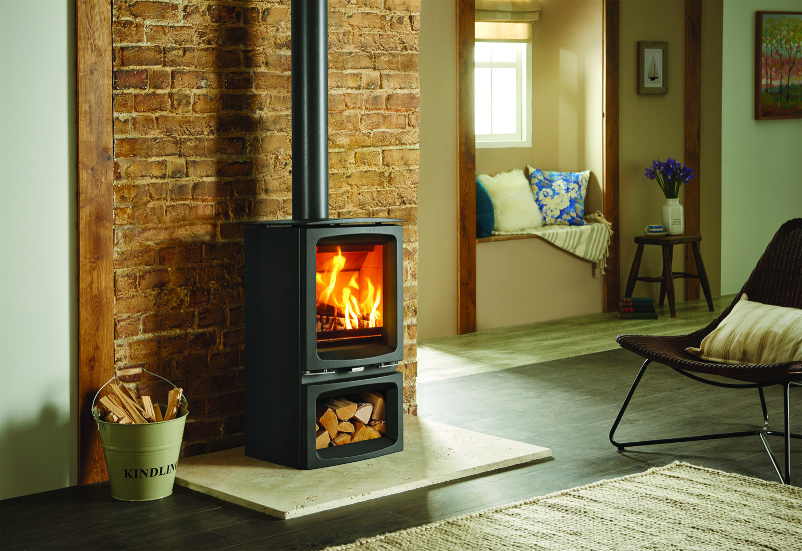 Stovax Vogue Midi Wood Burning Eco Stove With Cast Iron