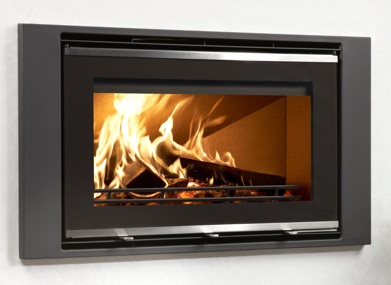 westfire uniq 32 glass fronted inset wood burning stove with wide frame - Wood Burning Picture Frame