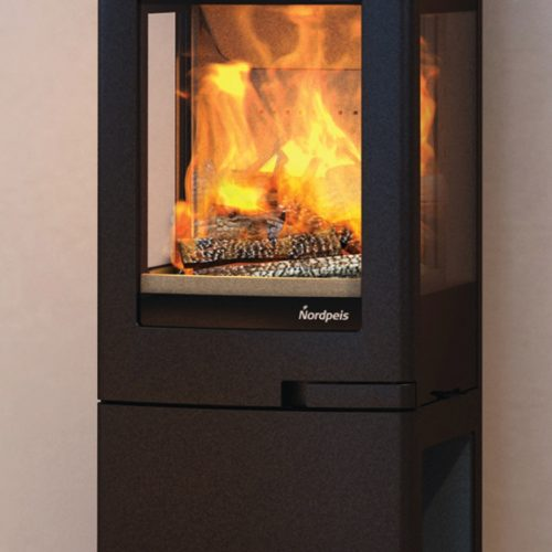 Nordpeis Uno 2 Wood Burning Stove with Log Store Base with clear glass panels